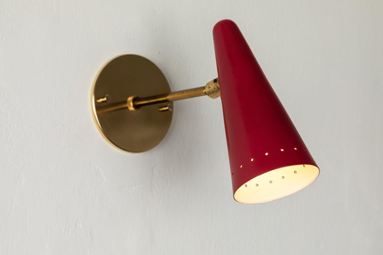 Italian 1960s Stilux Articulating Red Cone Sconces For Sale