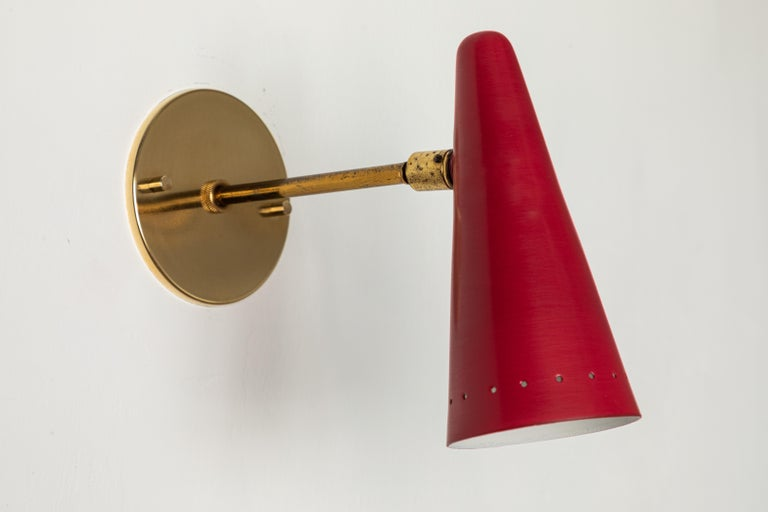1960s Stilux Articulating Red Cone Sconces For Sale 1