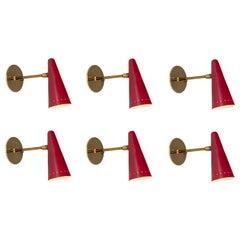 1960s Stilux Articulating Red Cone Sconces