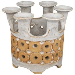 1960s Stoneware Crown Candelabra by Hal Lasky for Isla del Sol Pottery