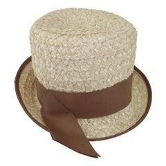 1960's Straw Fedora Style Hat