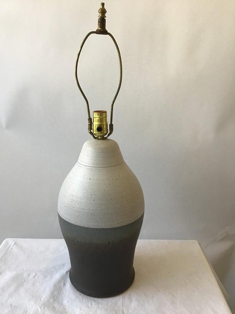 Mid-20th Century 1960s Striped Ceramic Lamp For Sale