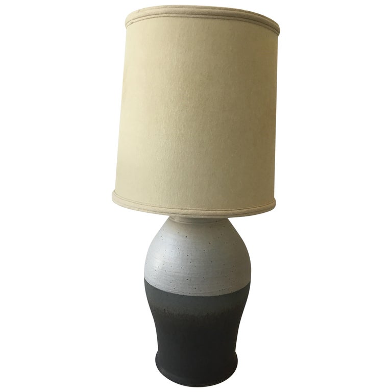 1960s Striped Ceramic Lamp For Sale