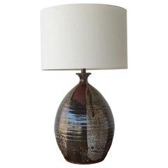 1960s Studio Ceramic Stoneware Lamp