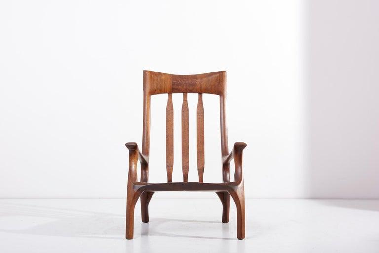 1960s Studio Lounge Chair in Black Walnut by J. Benjamin Rouzie For Sale 8