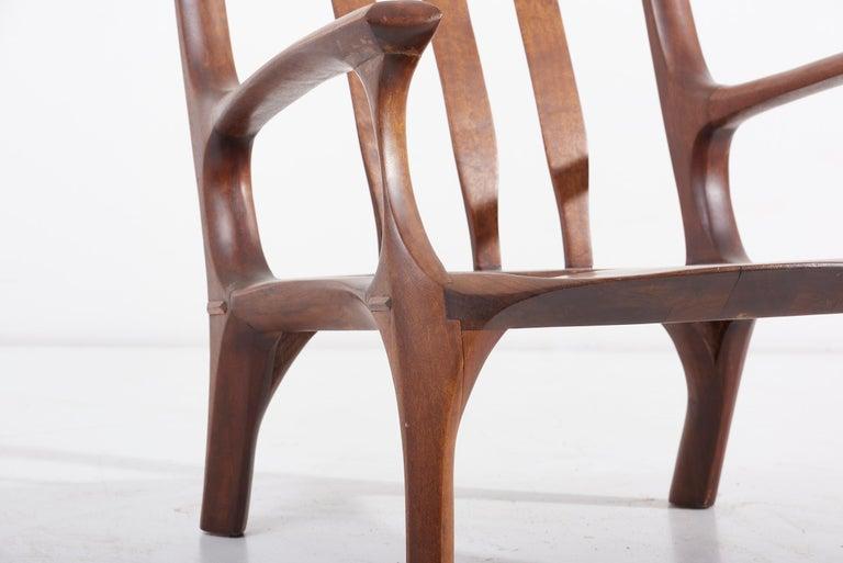 1960s Studio Lounge Chair in Black Walnut by J. Benjamin Rouzie For Sale 9