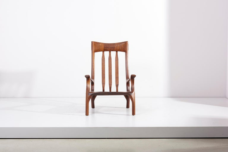 Extraordinary 1960s studio lounge chair designed by J. Benjamin Rouzie. Built by Ben Rouzie and Bob Kopf, a North Carolina fine woodworker, for his wife Miriam Silverman Rouzie, approximately 1970 for there living room space at 804 Kenwick Drive,