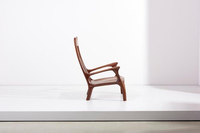 Mid-Century Modern 1960s Studio Lounge Chair in Black Walnut by J. Benjamin Rouzie For Sale