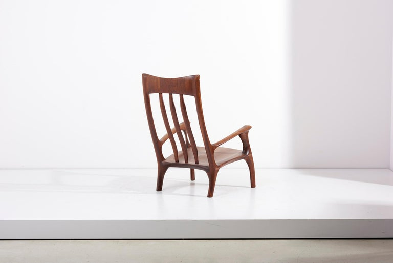 American 1960s Studio Lounge Chair in Black Walnut by J. Benjamin Rouzie For Sale