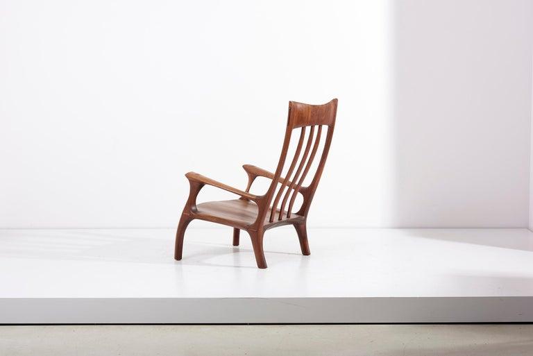 Mid-20th Century 1960s Studio Lounge Chair in Black Walnut by J. Benjamin Rouzie For Sale