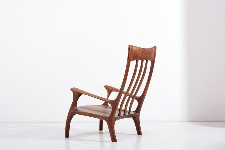 1960s Studio Lounge Chair in Black Walnut by J. Benjamin Rouzie For Sale 1