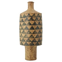 1960s Studio Stoneware Totem Bottle Geometric Pattern Scandinavian Craft Rustic