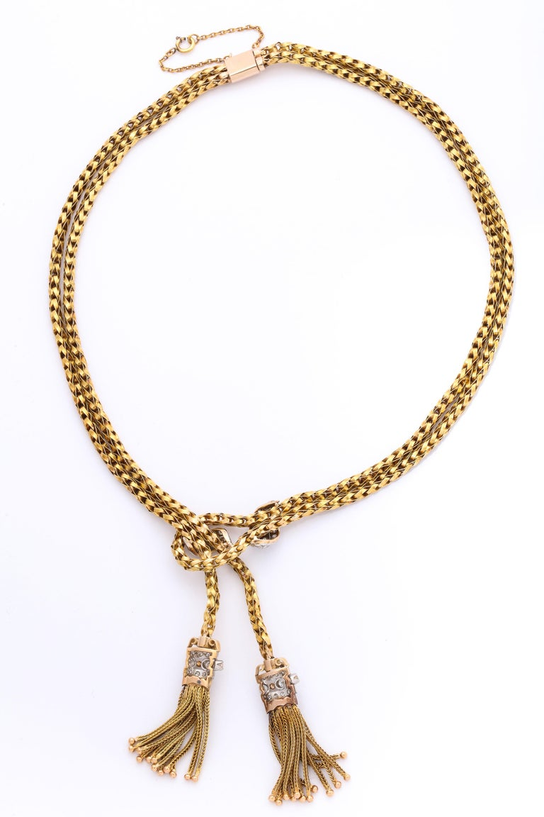1960s Stylish Tassel Necklace With Bracelet Braided Gold Suite With Diamonds For Sale 5