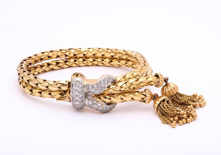 1960s Stylish Tassel Necklace With Bracelet Braided Gold Suite With Diamonds For Sale 6