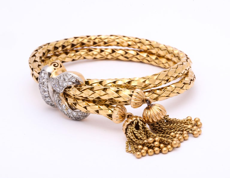 1960s Stylish Tassel Necklace With Bracelet Braided Gold Suite With Diamonds For Sale 7