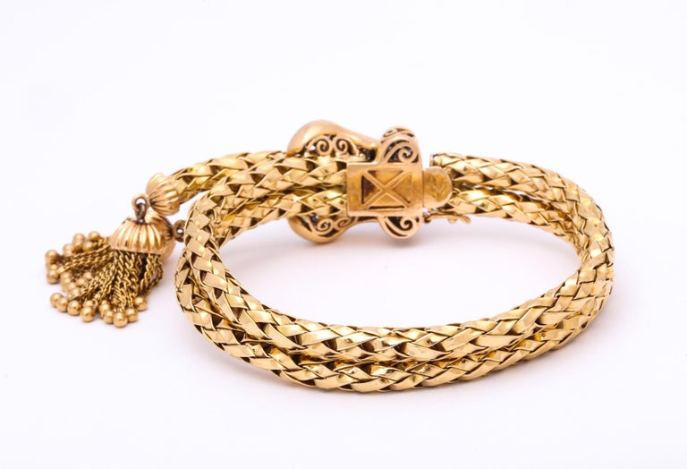 1960s Stylish Tassel Necklace With Bracelet Braided Gold Suite With Diamonds For Sale 8