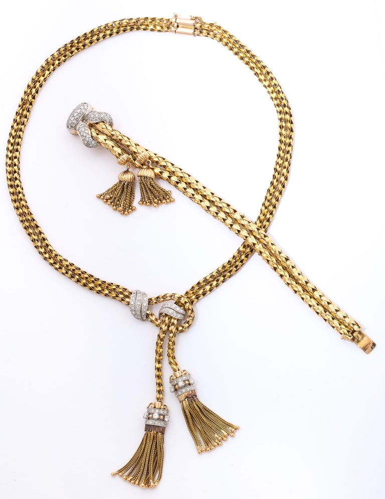 Round Cut 1960s Stylish Tassel Necklace With Bracelet Braided Gold Suite With Diamonds For Sale