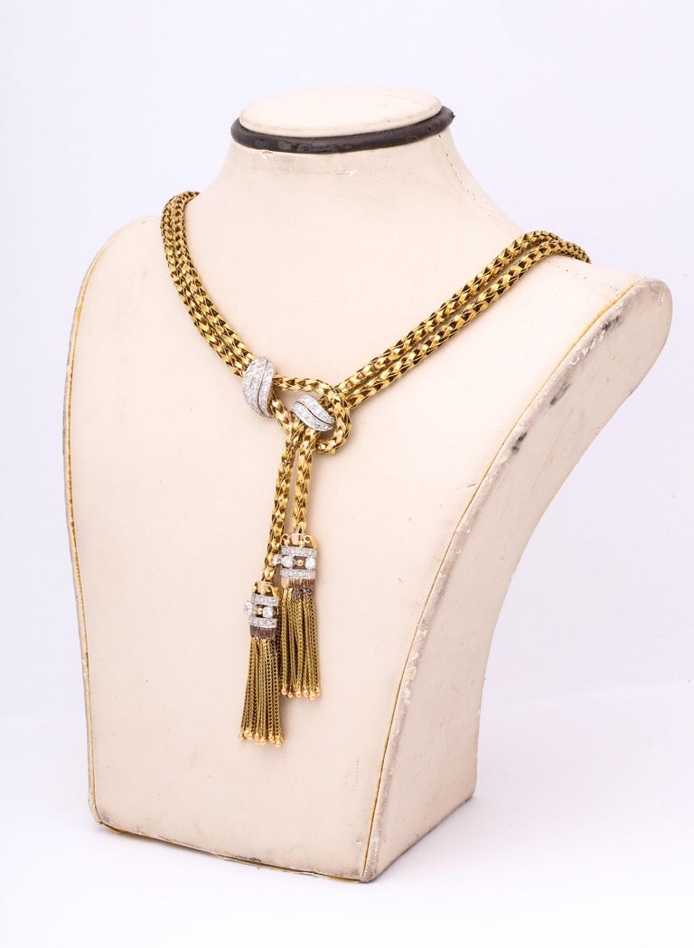 1960s Stylish Tassel Necklace With Bracelet Braided Gold Suite With Diamonds In Good Condition For Sale In New York, NY
