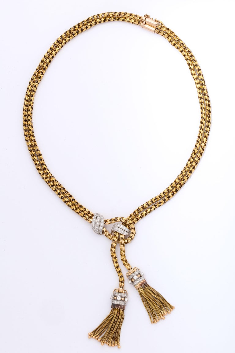 Women's 1960s Stylish Tassel Necklace With Bracelet Braided Gold Suite With Diamonds For Sale