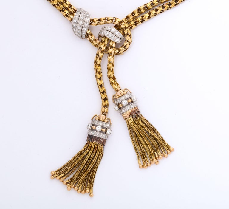 1960s Stylish Tassel Necklace With Bracelet Braided Gold Suite With Diamonds For Sale 1