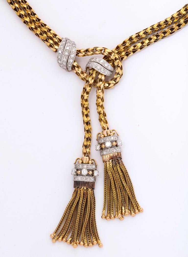 1960s Stylish Tassel Necklace With Bracelet Braided Gold Suite With Diamonds For Sale 2