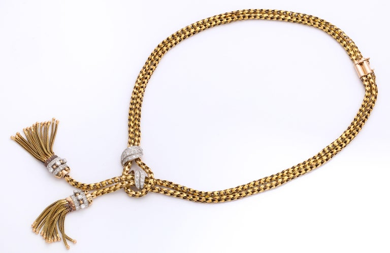 1960s Stylish Tassel Necklace With Bracelet Braided Gold Suite With Diamonds For Sale 3
