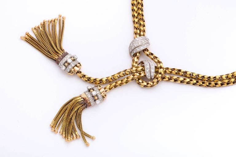 1960s Stylish Tassel Necklace With Bracelet Braided Gold Suite With Diamonds For Sale 4