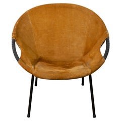 1960s Suede Circle Balloon Chair by Lusch Erzeugnis for Lusch & Co.