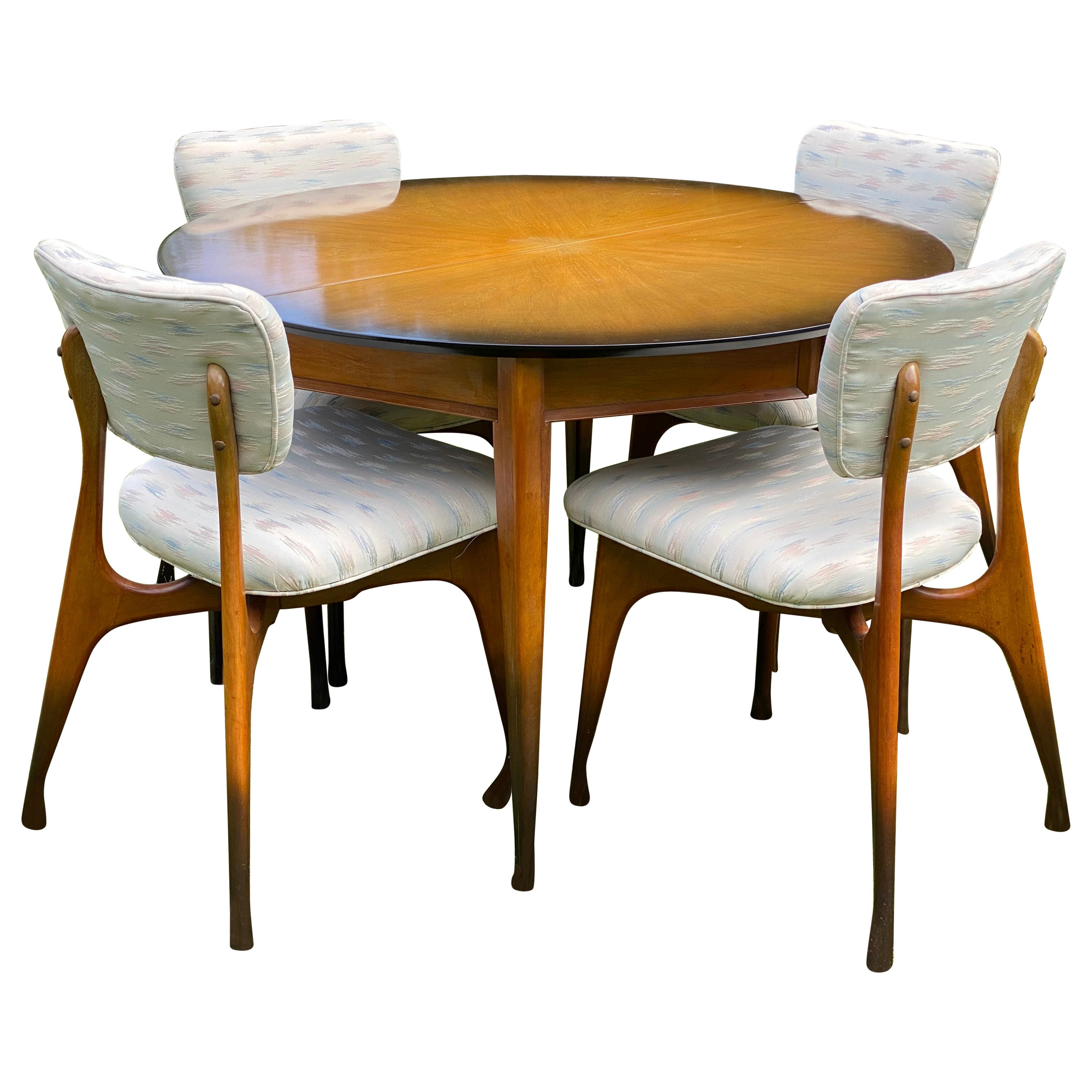 1960s Sunburst Finish Dining Table and Chairs