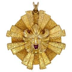 1960's Sunburst Viking Diamond Ruby 14 Karat Yellow Gold Vintage Pendant