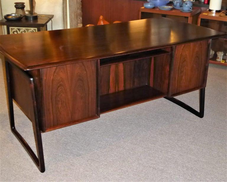 Danish 1960s Svend Aage Madsen Rosewood Executive Desk Denmark For Sale