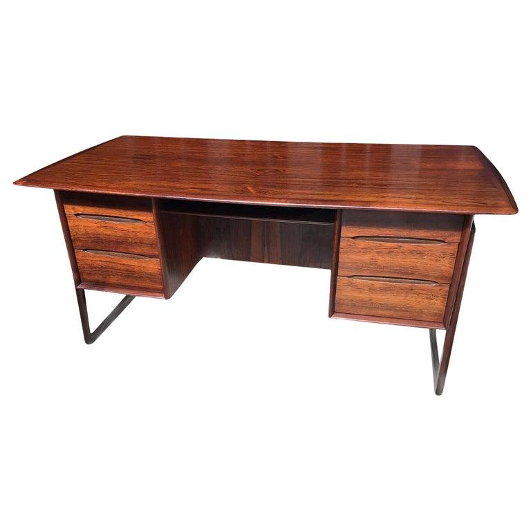 1960s Svend Aage Madsen Rosewood Executive Desk Denmark For Sale