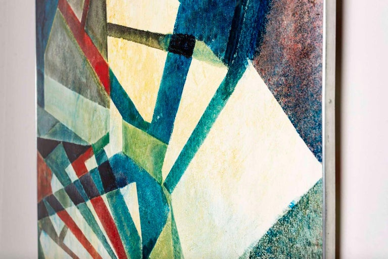A modern Swedish abstract oil painting by Leo Reis (1926-2001) which was exhibited in the Skane Art Association show in 1944 where Reis was named the most promising artist During the 1950s he joined the Concret Art Movement. The movement had a