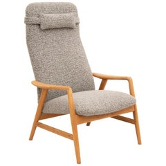1960s Swedish Contour Oak Armchair by Alf Svensson for DUX
