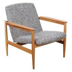 1960s Swedish Midcentury Oak Framed Upholstered Lounge Chair