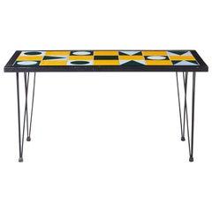 1960s Swedish Modern Geometric Tile Top Coffee Table