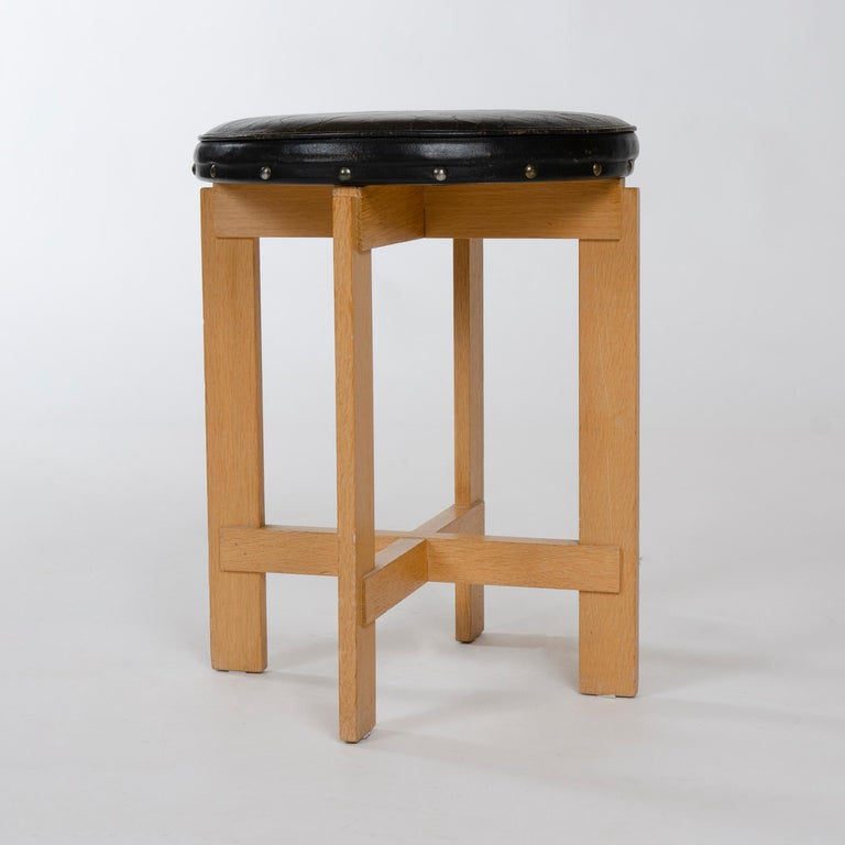 Scandinavian Modern 1960s Swedish Oak and Leather Stool by Uno & Östen Kristiansson for Luxus For Sale