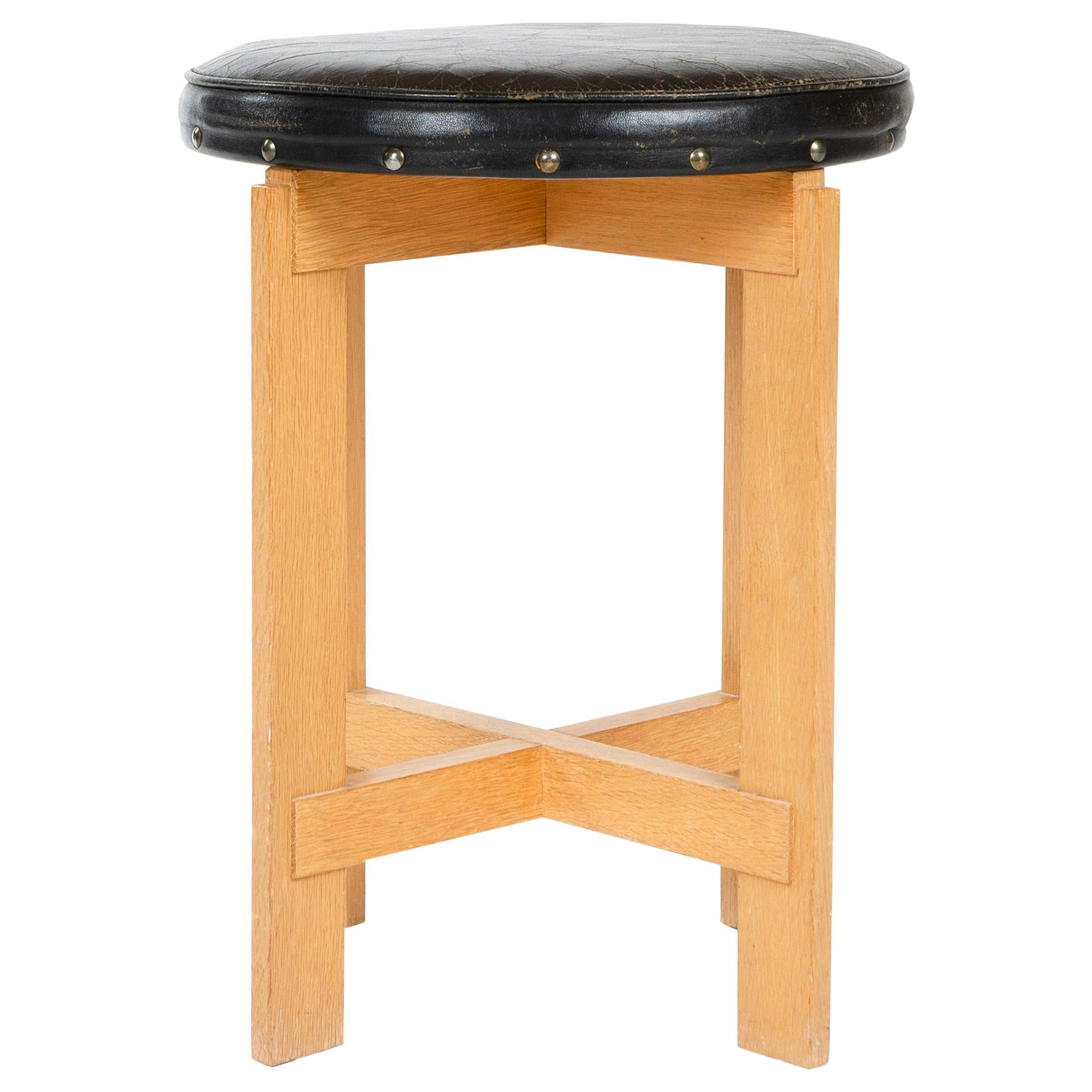 1960s Swedish Oak and Leather Stool by Uno & Östen Kristiansson for Luxus