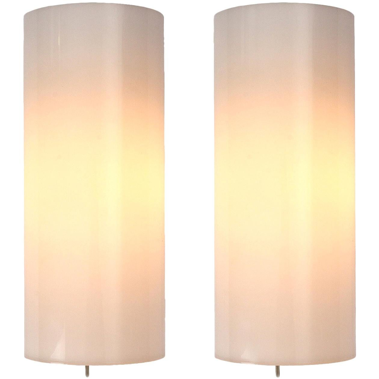 1960s Swedish Pair of Perspex Wall Sconces by Uno & Osten Kristiansson for Luxus