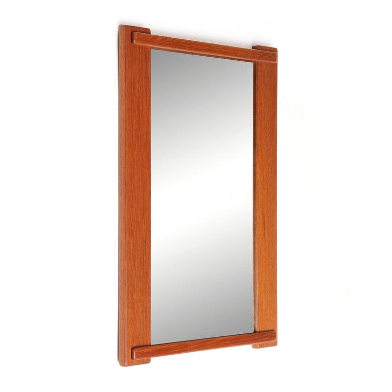 1960s Swedish Teak Modernist Mirror by Vittsjo Furniture In Good Condition For Sale In Sagaponack, NY