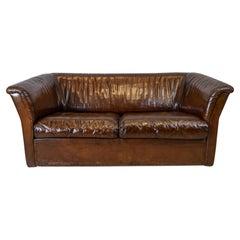 1960s Swiss De Sede Two Seater Dark Brown Buffalo Hide Leather Sofa Or Settee