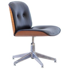 1960s Swivel Desk Chair with New Black Leather by Ico Parisi for MIM Roma