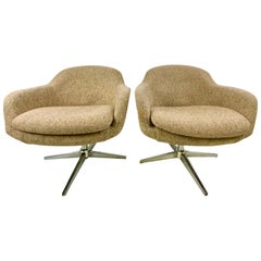 1960s Swivel Lounge Chairs by Carl Eric Klote for Overman, a Pair