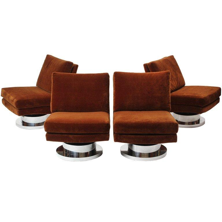 1960s Swiveling Russet Velvet Slipper Chair by Milo Baughman for Thayer-Coggin