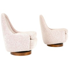 1960s Swiveling Slipper Lounge Chairs by Milo Baughman for Thayer Coggin