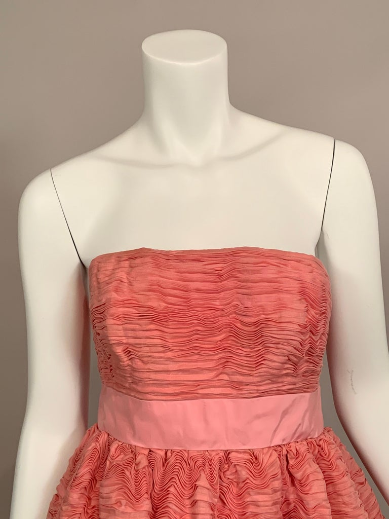 Orange 1960's Sybil Connolly Irish Haute Couture Pleated Pink Linen Strapless Dress For Sale