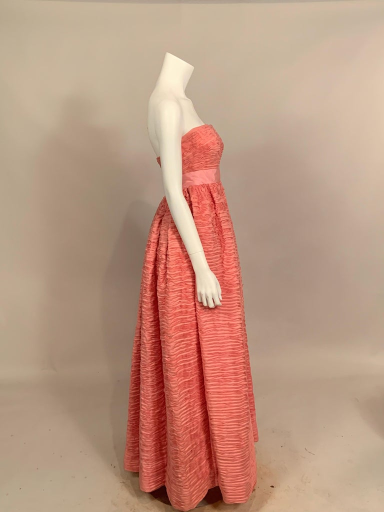 1960's Sybil Connolly Irish Haute Couture Pleated Pink Linen Strapless Dress For Sale 1