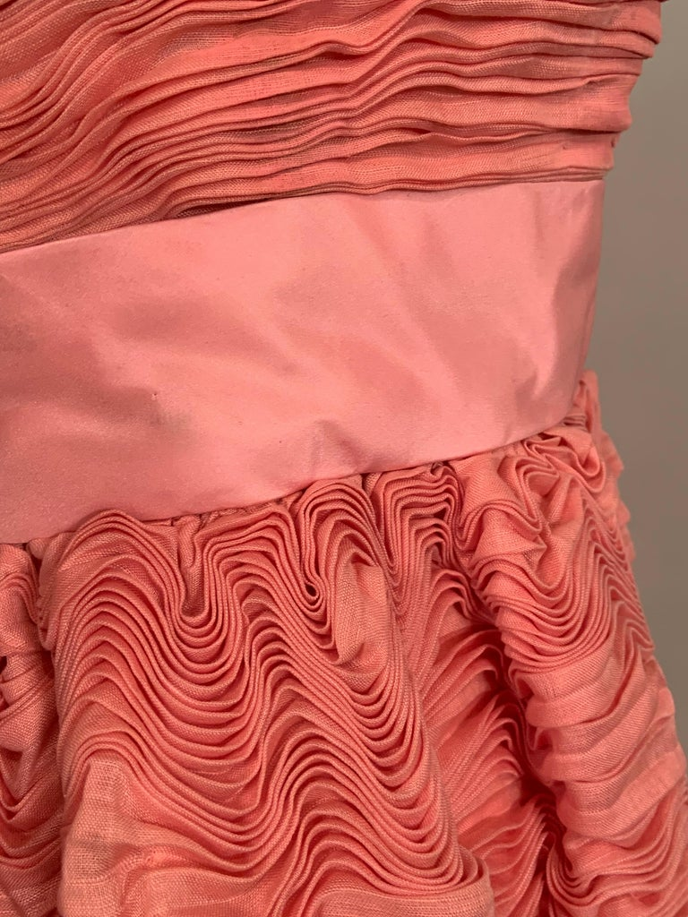 1960's Sybil Connolly Irish Haute Couture Pleated Pink Linen Strapless Dress For Sale 3