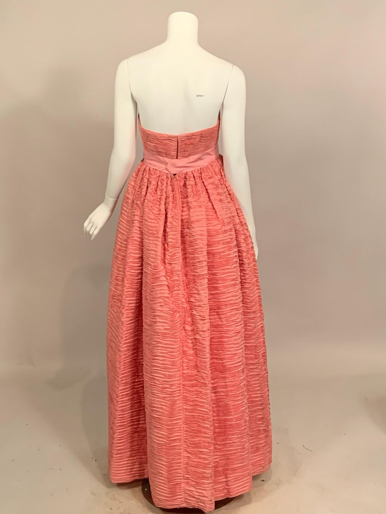 1960's Sybil Connolly Irish Haute Couture Pleated Pink Linen Strapless Dress For Sale 4