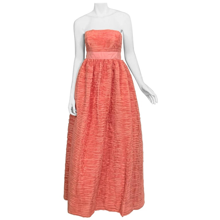 1960's Sybil Connolly Irish Haute Couture Pleated Pink Linen Strapless Dress For Sale
